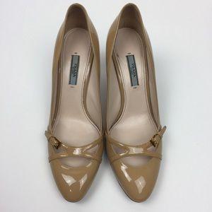 Prada Patent Leather Nude Tan Pumps Heels 38.5